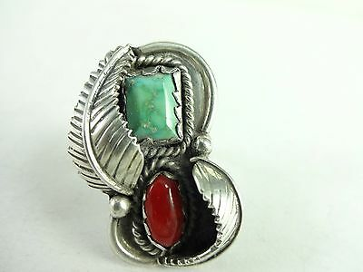 Vintage Sterling Silver Navajo Hand Made Feather Turquoise Coral  Ring 6.35