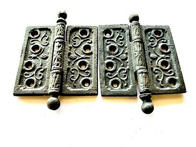 "1890's Antique Ornate Cannonball DOOR HINGES 4"" Ball Top Style Set of 2 DH131"