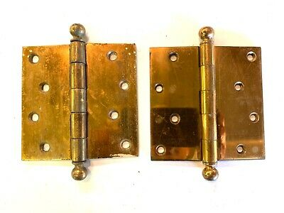 "1890's 4 1/2"" Antique Cannonball DOOR HINGES Ball Top Style Set of 2 DH132"