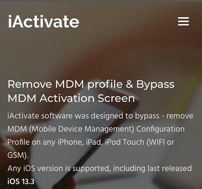 IPHONE MDM BYPASS Fast Service All Ios Supported Ios 13.3