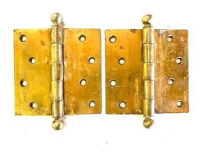 "1890's 4 1/2"" Antique Cannonball DOOR HINGES Ball Top Style Set of 2 DH133"