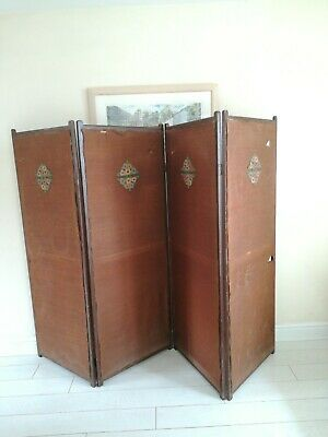 Antique large Victorian dressing screen room divider 4 panels