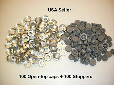 200 Set 20mm Serum Vial Snap On Stoppers Aluminum Open Hole Crimp Cap Seal Lot