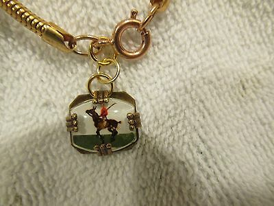 POLO PONY HORSE & RIDER BRACELET vintage reverse carved painted glass intaglio r