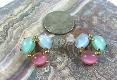 vintage clip on earrings with colorful prong set cabochons
