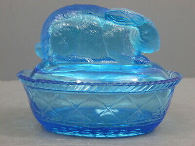 ANTIQUE BLUE GLASS GREENTOWN INDIANA TUMBLER & GOBLET RABBIT COVERED DISH 1900s
