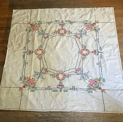 1930s ARTS & CRAFTS HAND MADE STITCH EMBROIDERED COTTON LUNCHEON TABLECLOTH