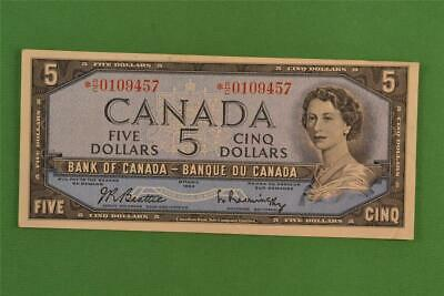 1954 Bank of Canada 5 Dollar Modified Portrait Replacement Note *RC 0109457