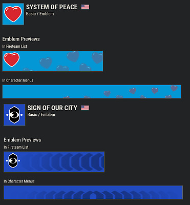 Destiny 2 Sign of Our City + System Of Peace Emblems COMBO!!!INSTANT DELIVERY!!!