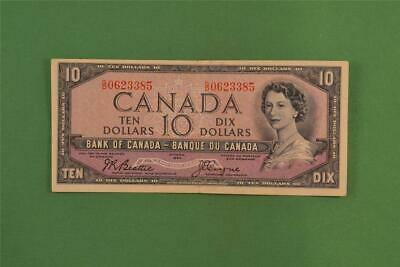 1954 Bank of Canada 10 Dollar Devils Face Note Beattie Coyne GD 0623385