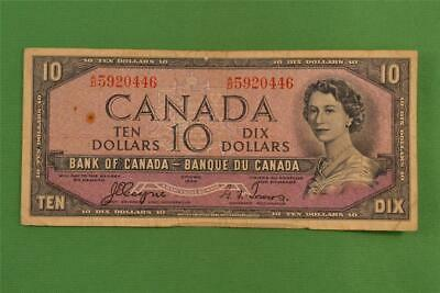 1954 Bank of Canada 10 Dollar Devils Face Note Beattie Coyne AD 5920446