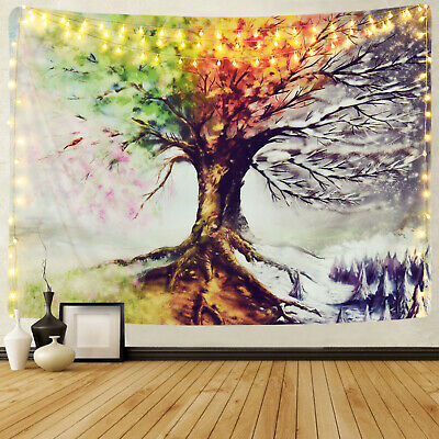 Colorful Art Watercolor Tree Tapestry Room Bedspread Wall Hanging Tapestry Decor