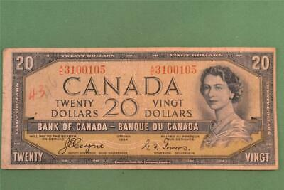 1954 Bank of Canada 20 Dollar Devils Face Note AE 3100105 Coyne Towers