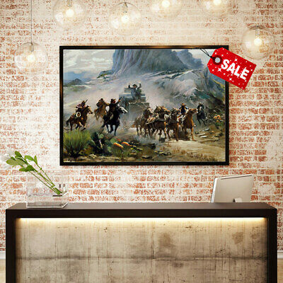 Oil Painting Art Print A Western Attack on A Stagecoach  Decor on Canvas 12x16
