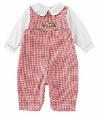 NWT Petit Ami Baby Boys 6 Month Gingham Christmas Rocking Horse Coverall & Shirt