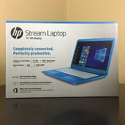 "Brand New HP Stream Laptop 14-cb011wm 14"" HD 32GB Celeron N3060 - Blue"
