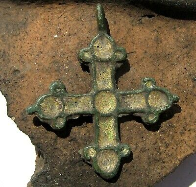 Ancient Medieval Bronze Cross with Enamels 8-10 Century
