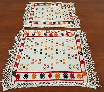 Vintage circa 50s 2 x MEXICAN Theme MULTI-COLOUR Embroidered Drink COASTER Mats
