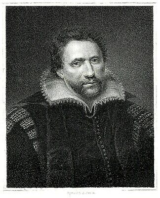 Ben Jonson - English Playwright & Poet - By E. Scriven from an Original Portrait