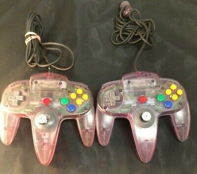 (2)Used Genuine Nintendo 64 Clear Atomic Purple Controller Authentic OEM N64