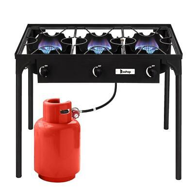Protable 3 Burner Gas Propane Cooker Outdoor Camping Picnic Stove Stand BBQ Camp