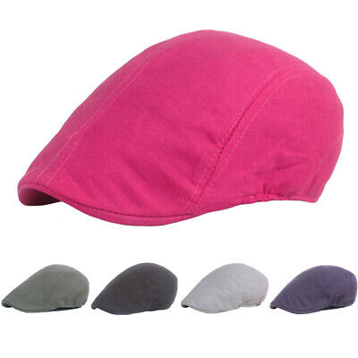Men Women Casual Beret Flat Caps Classic Cap Plain Color Cabbie Driving Golf Hat