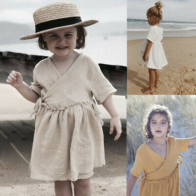 Toddler Kids Baby Girl Linen Ruffle Princess V-neck Beach Dress Outfits Clothes