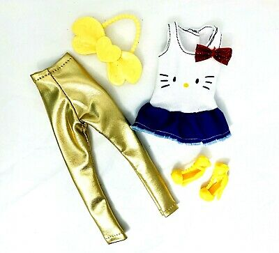 Barbie Doll Clothes Lot Hello Kitty Top Fashion Outfit Set Gold Leggings Shoes
