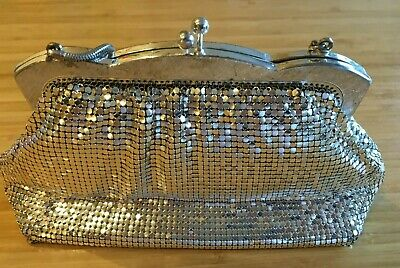 OROTON Vintage Silver Mesh Click Clasp Snake Chain Evening Bag w Pocket Mirror