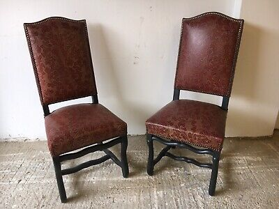 Pair of French Style Leather Restaurant Chairs (Bar / Pub / Cafe / Dining)