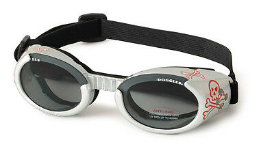 SUNGLASSES FOR DOGS by Doggles - SKULL DESIGN WITH SMOKE LENS - EXTRA SMALL