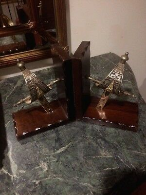 Astrological signs shield sword wooden Book ends