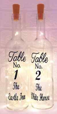 Restaurant Pub Personalised Table Numbers Light Up Bottle Table Centrepiece