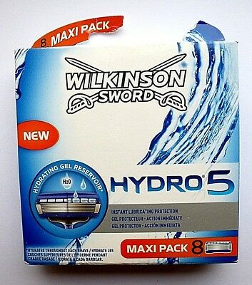 Wilkinson Sword Hydro 5 Mens Blade Maxi 8 Pack H2O Pro Vitamin B5 New & Sealed