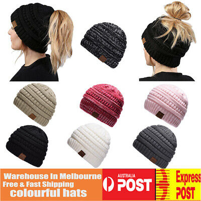 Women Tail Messy Soft Beanie Bun Hat Ponytail Stretchy Knitted Crochet Skull AU
