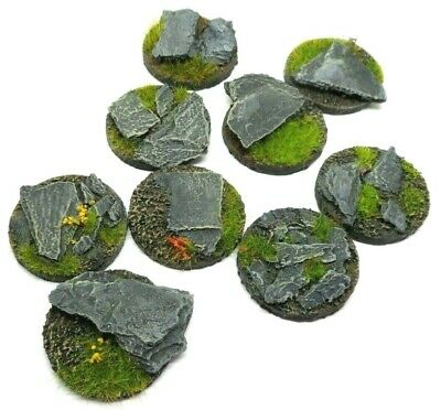 10 x 32mm rock/slate resin bases for warhammer ,roleplaying, minatures