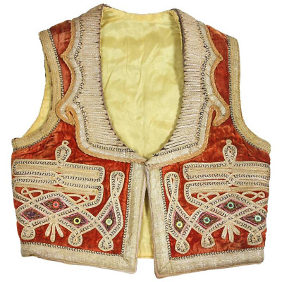 19th Century Antique Ottoman Red and Gold Thread Embroidered Vest