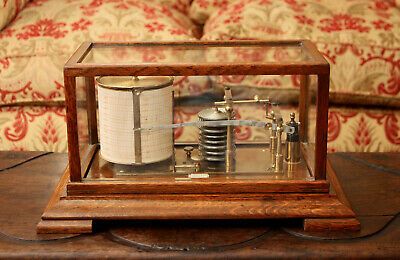 A Superb c19th Antique Clockwork Barograph, Barker, Clerkenwell, London