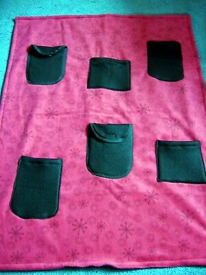 Handmade Red with X's and O's Wheelchair Cover Blanket  w/ 6 Pockets 29 X 34