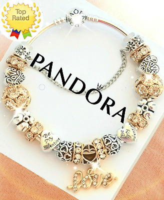 Authentic Pandora Charm Bracelet Silver with Gold Love European Charms New Box