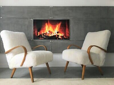 Vintage White Sheepskin Fluffy Furry Easy Fire Chair Armchair by Ton