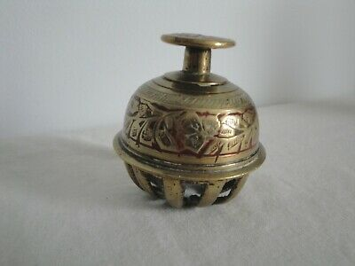 Vintage Solid Brass Elephant Claw Bell Red & Gold Made in India (No Clapper)