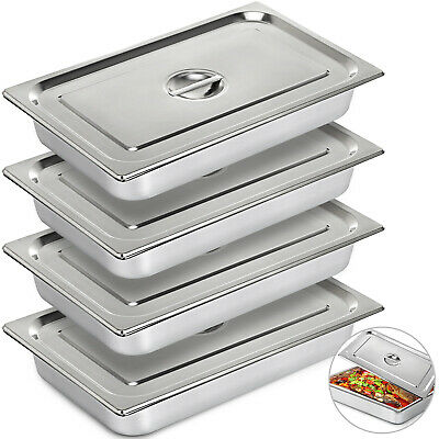"""4-Pack Full Size 4"""" Deep Silver Stainless Steel Hotel Steam Table Pans"""
