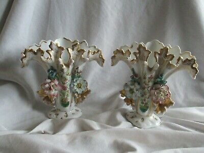 Superb Ornate Pair of Porcelain Floral Flared Gilded Vases possibly French