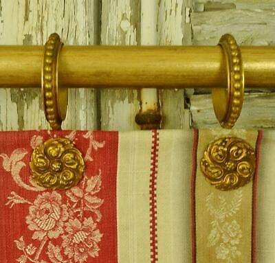 Amazing Set 9 Antique French Gilded Medallion Chateau Curtain Rings,19th C
