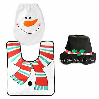 10 x Christmas Snowman Toilet Seat Cover Mat Rug Xmas Party Novelty Home Decor