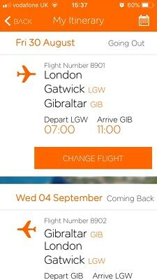 Return Flights to Gibraltar from Gatwick for Two includes name change