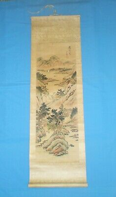 Vintage Chinese Landscape Scroll Painting On Silk By Hong Kong Refugee