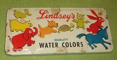 Antique Vintage Lindsey's Water Color Tin Toys Scotties Painting Dogs Primitive