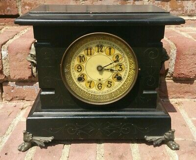 Antique New Haven Mantle Clock Claw Feet Gargoyle Wolf TESTED & WORKING NICE!!!